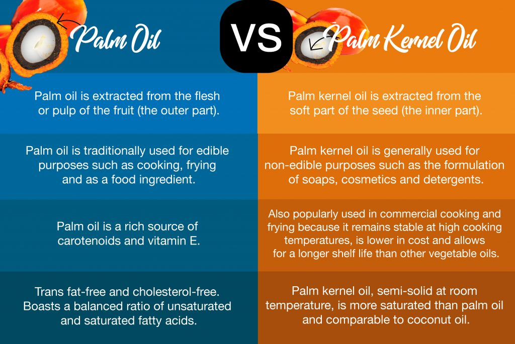 difference between palm oil and palm kernel oil
